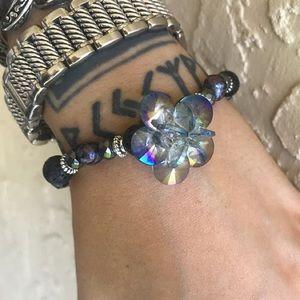Silverskylight Jewelry - Swarovski crystal flower blue pearls & lava rock